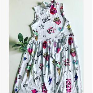 <ASOS> Pizza Graffiti High Neck Dress